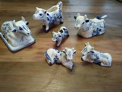 Delft Blue Ceramic Cow Butter S/P Creamer + More Handpainted Holland Windmill