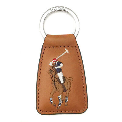 New RALPH LAUREN Brown Leather Logo Keyring Keyfob