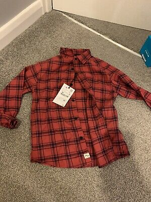 BNWT Zara Boys Red Check Shirt Age 7