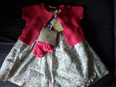 Bnwt Next Baby Girls Red & Blue Print Floral Dress Cardigan & Tights 9-12M