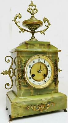 Antique 19thC French 8 Day Architectural Green Onyx Gong Striking Mantel Clock