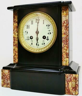 Antique 19thC French 8 Day Slate & Coloured Marble Bell Striking Mantel Clock