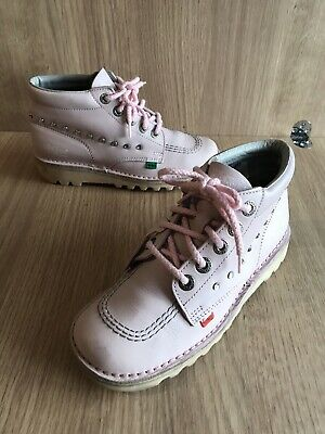 KICKERS PALE PINK LEATHER SZ 4 Shoes Boots High Top Girls Women's Ankle VGC
