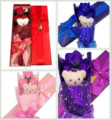 3pcs Scented Soap Rose Teddy Bear Gift Box for Birthday Mother's Valentine's Day