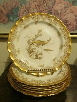Antique Royal Worcester England Hand Painted Set Of 6 Gold Fish Plate And Bowl