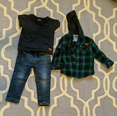 Boys 7 for all mankind 3 piece set jeans shirt hoodie size 2T