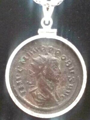 Large Probus AE2 Ancient Roman Coin Pendant Sterling Silver Bezel Necklace