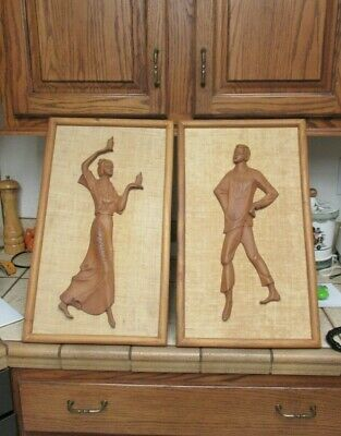 1950's vintage Bali Indonesia Asian Dancers plaques wall Art