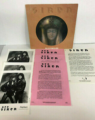 SIREN All Is Forgiven Record LP with Promo Pictures Release EX Vinyl 80's Rock