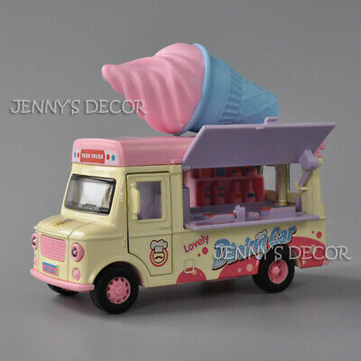 1:36 Diecast Fast Food Truck Model Lovely Dining Car Ice Cream Van Vehicle Toy