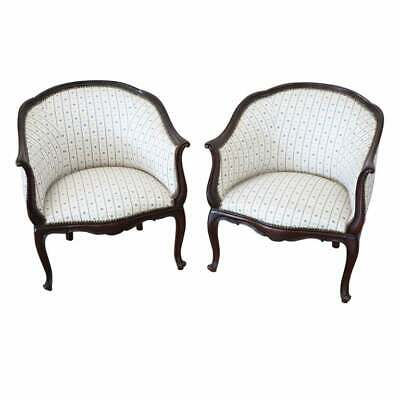 Early 20th Century Italian Louis XV Style Carved Walnut Pair of Armchairs