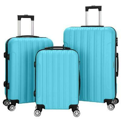 3Pcs Luggage Travel Set Bags Abs Trolley Hard Shell Suitcase W/Tsa Lock With 4 W