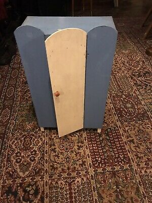 Vintage Original Dolly 1930s 1940s Old White and Blue Wooden Dolls Wardrobe