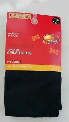 BNWT Girls M&S Navy Thermal Tights 140 Denier Age 11-12 Years.