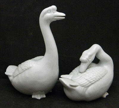 Pair of Japanese Porcelain  Geese, signed