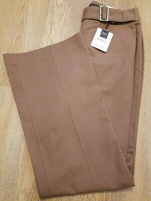 NWT Express Women's The Editor Low Rise Flare Leg Brown Pants Size 6