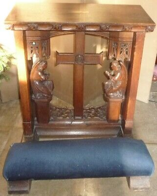 Fine Antique Gothic Carved Oak Private Chapel Church Kneeler