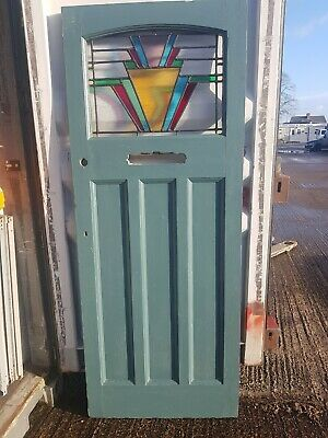 Vintage Antique Reclaimed vintage front door leaded stained glass colourful