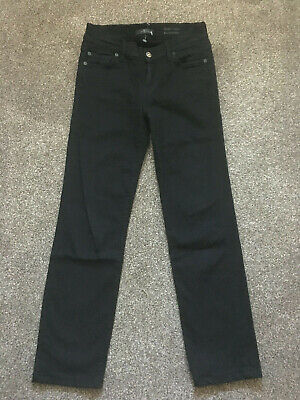 7 For All Mankind Roxanne Mid rise Straight/Slim Leg Jeans Rinsed Black 26W 27L