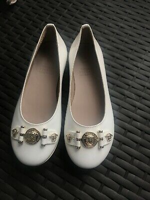 Young Versace Girls White Patent Dolly Shoes Leather Made In Italy Size 11/29
