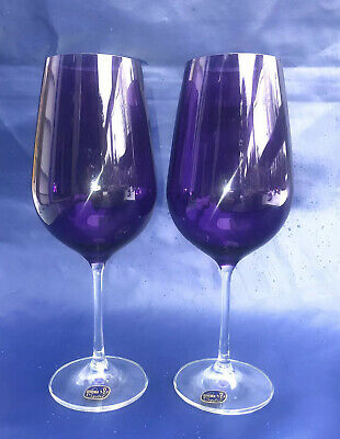 "Set Of 2 Bohemia Crystal Purple Wine Water Goblet Stem Glasses 9.5"" Tall NEW"