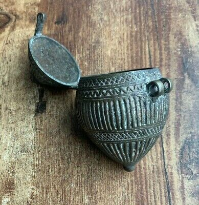 Bronze Antique Asian Southeast Indian Vessel Jar Metal Container Capsule Box