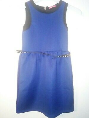 Bnwt Primark Young Dimension Girls Blue Dress And Belt Size 11-12 Years