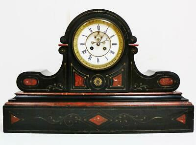 Antique French 8 Day Striking Slate & Red Marble Mantel Clock Visible Escapement
