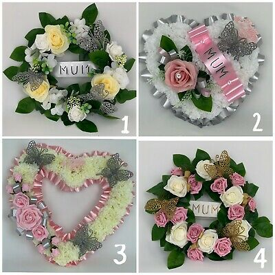 Artificial silk funeral flower heart memorial wreath grave tribute mothers gran