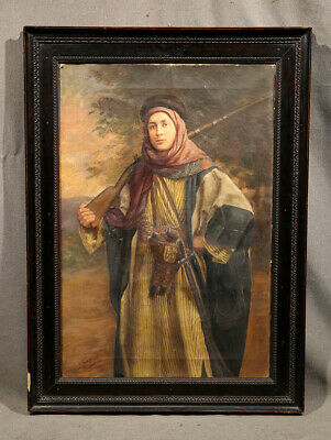 Early 20th Century Painting Italian Hollywood Movie Star in Islamic Suit