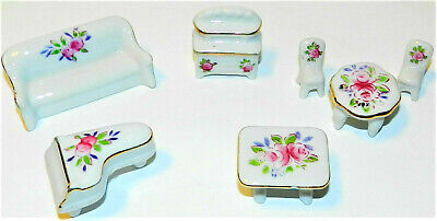 Vtg 7pc Hand Painted Porcelain Doll House Furniture Pink Gilt Roses Piano Japan