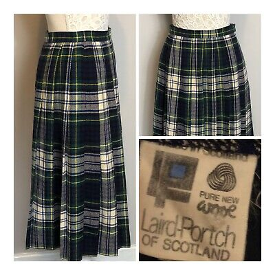 "VINTAGE Laird Portch Pleated Scottish Tartan Skirt Size 10-12 Waist 28"" Smart"