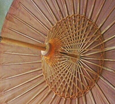 Old Oriental Asian Bamboo Rice Paper Japanese Chinese Parasol Umbrella