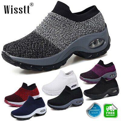 Women's Air Cushion Sneakers Breathable Mesh Walking Slip-On Running Pumps Shoes