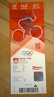 London 2012 Olympic Ticket Cycling Track Hoy Kenny Hindes Gold 2 Aug £325 *Mint*