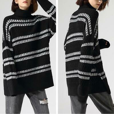 Loose 2019 White Black Tiger Knitted Sweater Pullover Runway Occident  Women Sz