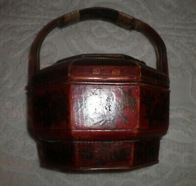 Antique Chinese Red Lacquer Octagon Child Riding Tiger Motif Wedding Storage Box