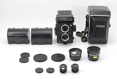 *NEAR MINT+3* YASHICA MAT 124G TLR FILM CAMERA w/ WIDE TELE LENS CASE From JAPAN