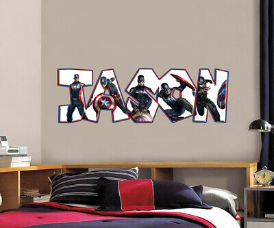 Captain America Personalized Name Custom Decal Wall Sticker Marvel Avengers WP23