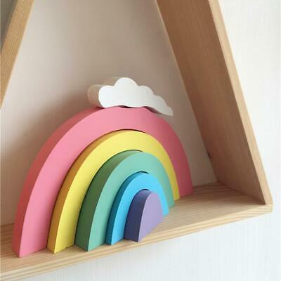 Kids Baby Rainbow Stacking Wooden Toddlers Building Blocks Game Photograph Toy