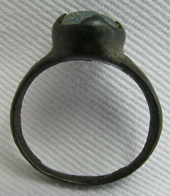 Ancient Old Byzantine Middle Ages Bronze Small Ring With Glass Paste!!!