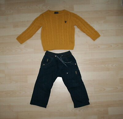 NEXT Boy Cable Knit Jumper & Jeans Smart Outfit Set Bundle Sz 3 yrs