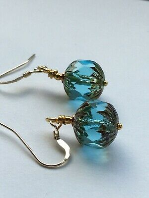Art Deco vintage style aquamarine faceted czech glass gold filled earring  hooks