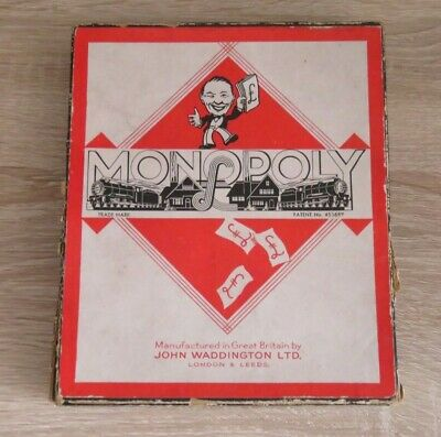 Vintage Monopoly Board Game War Time Rare Set With Cardboard Playing Pieces X 6
