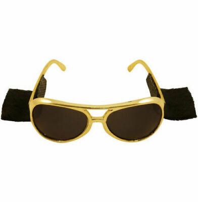 10 PAIR OF GOLD ROCK /& ROLL SUN GLASSES WITH SIDEBURNS ELVIS SUNGLASSES COSTUME