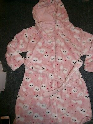 Girls Dressing Gown Age 6-7 Years Pink With Clouds