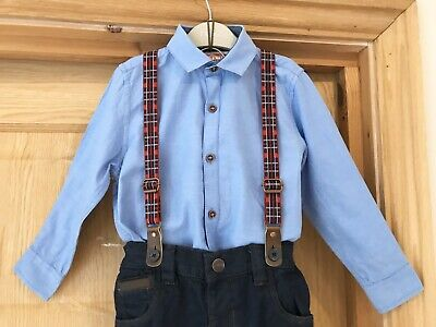 NEXT *4y BOYS SHIRT & NEW NEXT JEANS WITH BRACES OUTFIT AGE 4 YEARS (4-5y)