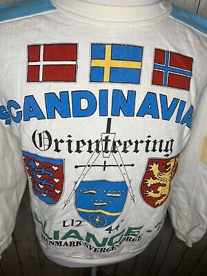 80s VTG Scandinavian Explorer Embroidered Crewneck Sleeves Shirt Mens XS 100%