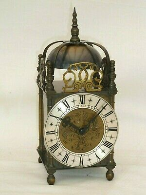 """V Good Quality Lantern Solid Brass Bell Strike Mantle Carriage Clock 10"""" High."""