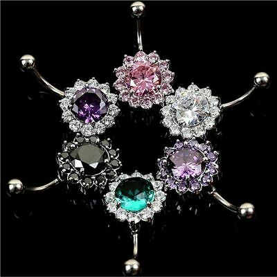 Zircon Surgical Steel  Body Piercing Belly Navel Ring Jewelry Crystal Flower